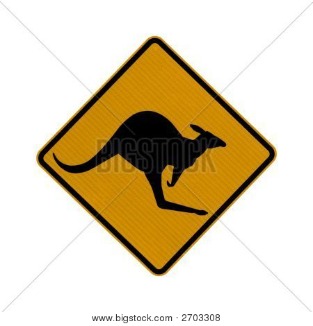 Kangaroo Crossing Sing Isolated