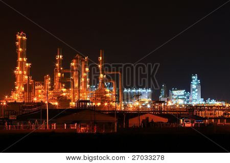 landscape of  petrochemical oil refinery plant at night