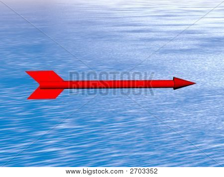 The Red Arrow Flying Above The Sea