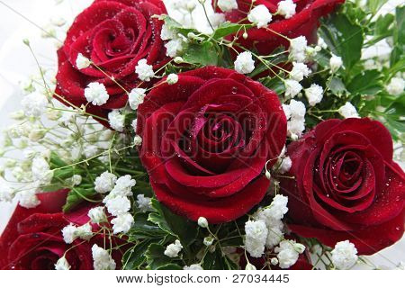 closeup of rose bouquet using in wedding or any greeting ceremony