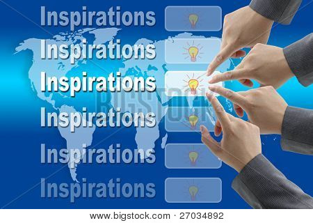 male business hand pushing on Inspirations button with world map background