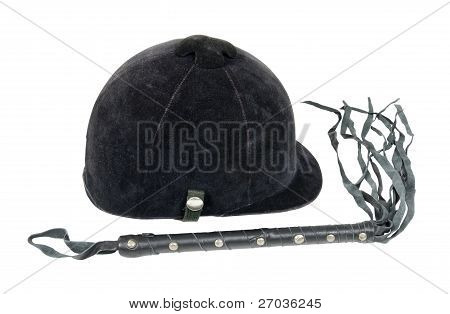 Equestrian Helmet And Leather Whip