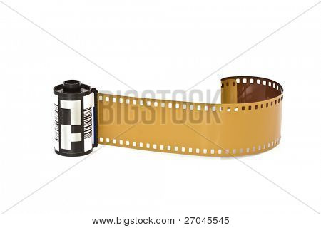 Closeup image of camera film  (Isolated on white background)