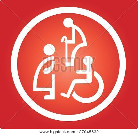 Restroom signs  for Pregnant woman,Handicapped and Aged person
