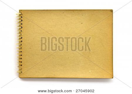 Old blank sketch book isolated on white background