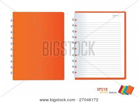 Photo of  orange notebook (blank paper). Vector illustration.