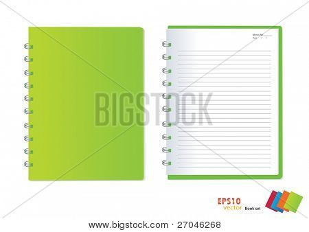 Photo of Green notebook (blank paper). Vector illustration.