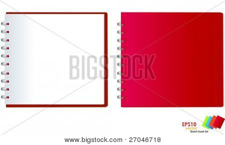 collection of red sketch book . Vector illustration.
