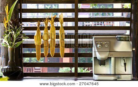 Coffee machine in outdoor kitchen