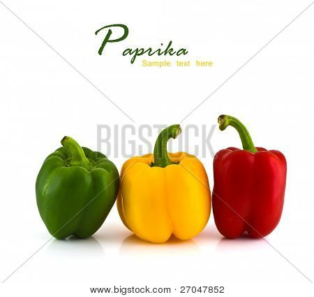 Fresh colorful paprika isolated on white background with copy space.