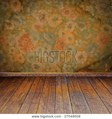vintage interior with floral wallpaper