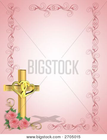 Wedding Invitation Christian Cross