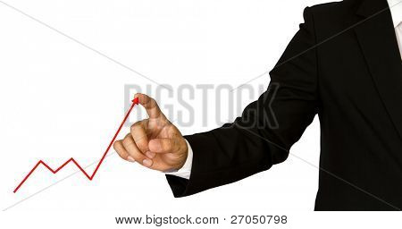 Business hand showing graph isolated on white