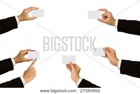 Collection card in a business  hand on white background