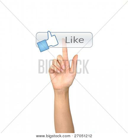 Hand pushing a Like  button on a touch screen interface
