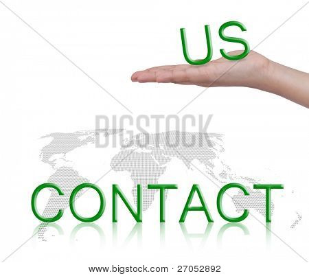 "Word "" contact us ""and female hand, business concept, isolated on white background"