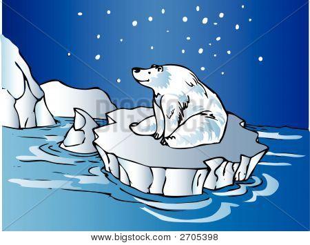 Polar Bear Sitting On An Iceberg