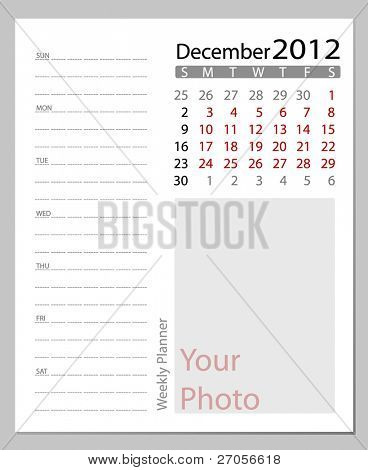 Simple 2012 calendar, December.  All elements are layered separately in vector file. Easy editable.