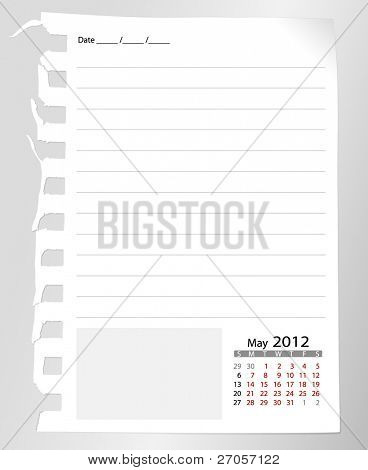 Simple 2012 calendar notebook, May. All elements are layered separately in vector file. Easy editable.