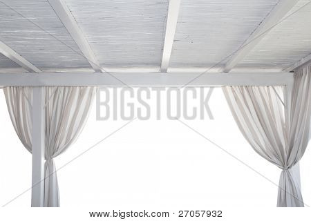Beach gazebo isolated on white with curtain [ photo-illustration]