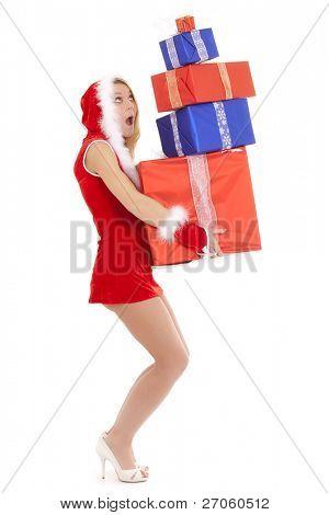 mujer de santa sexy glamour llevando muchos paquetes