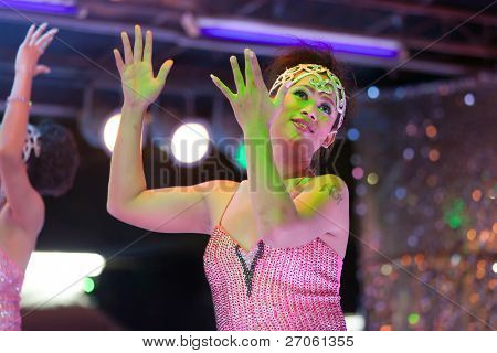 transgender thai singing on stage during night show, pattaya, thailand