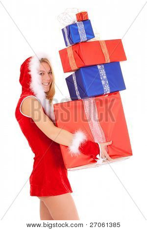 overloaded christmas woman carrying gift pile isolated on white