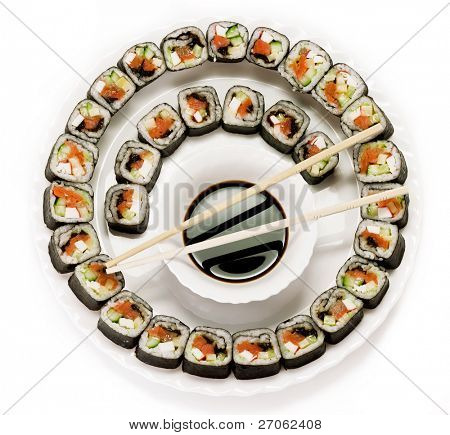Traditional Japanese food. Sushi on a plate. isolated on  white