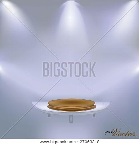 golden pedestal on the shelf vector