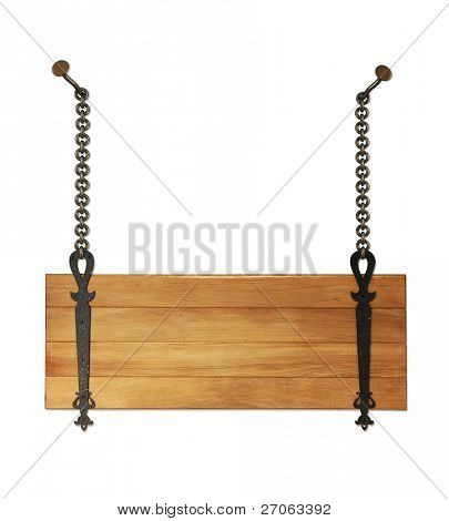 wooden sign hanging on the chains isolated on a white background