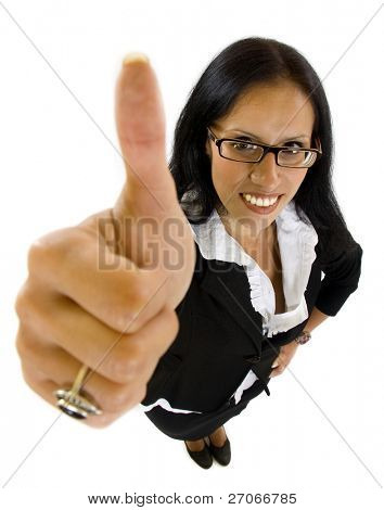 wide angle picture of a happy successful businesswoman making ok sign