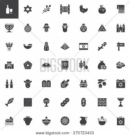 Judaism Vector Icons Set Modern