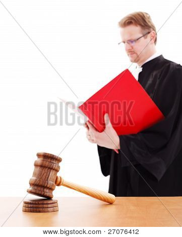 Justice Gavel, Judge Reading In Back