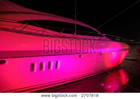 Yacht Light Up With Party Lights In South Beach