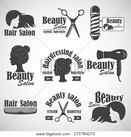poster of Set Of Vector Emblem, Label, Badge, Logos For Hairdressers Salon, Hair, Beauty Salon.