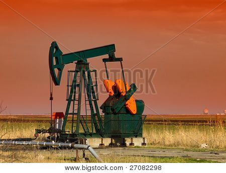 pumpjack in sunset