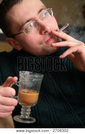 Smoking Man With Glass
