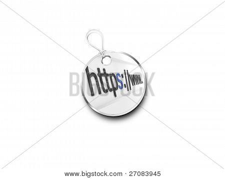 Silver Tag Marked With  Internet Address Bar Accented Blue