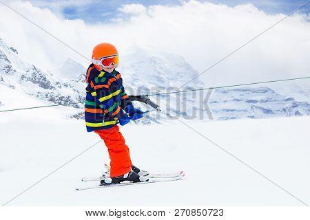 Child On Ski Lift Kids