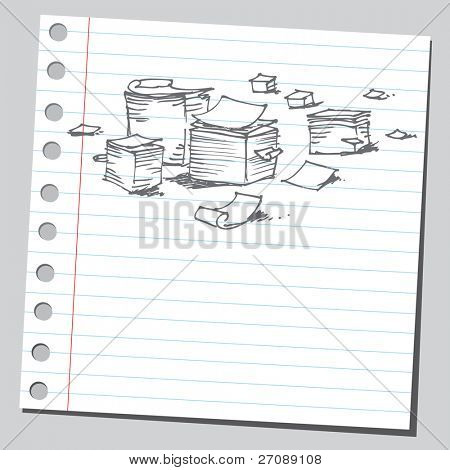 Scribble office papers