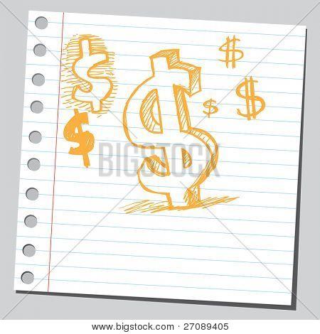 Scribble dollar symbol