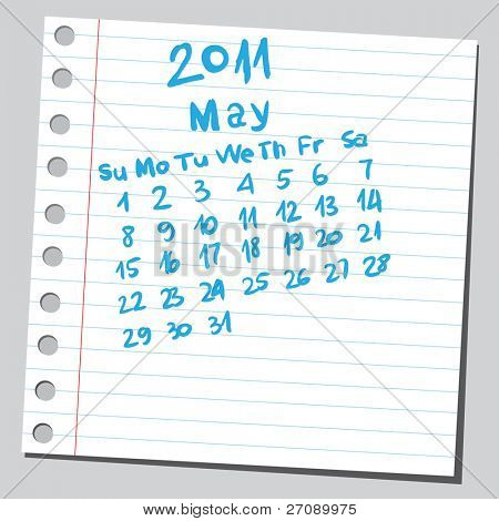 "Scribble calendar. ""May 2011"""