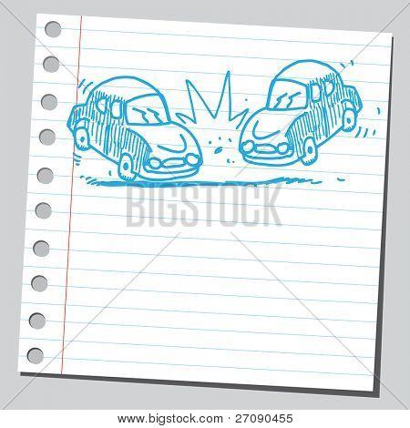Hand drawn car crash