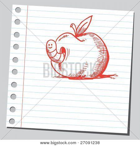 Gekritzel Stil Abbildung von einem Wurm im Apfel