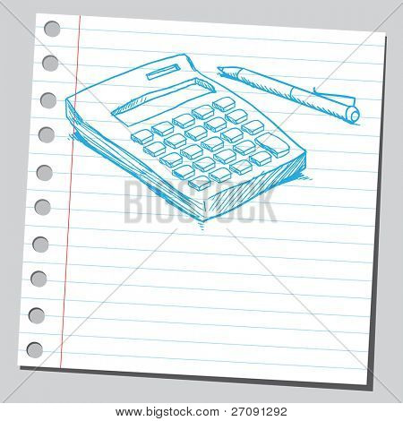 Sketch style vector illustration of a calculator and pen