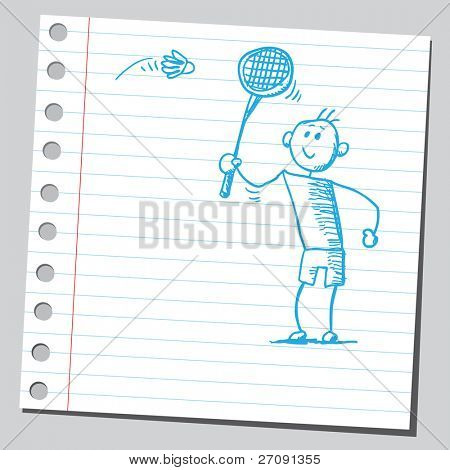 Sketch style vector illustration of a badminton player