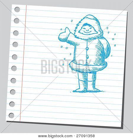 Skizzieren Sie Stil Vektor-Illustration der ein eskimo
