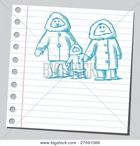 Skizzieren Sie Stil Vektor-Illustration einer Eskimo Familie