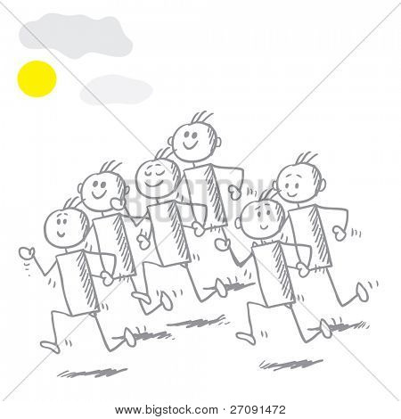 Sketch style illustration of a kids running on a sunny day