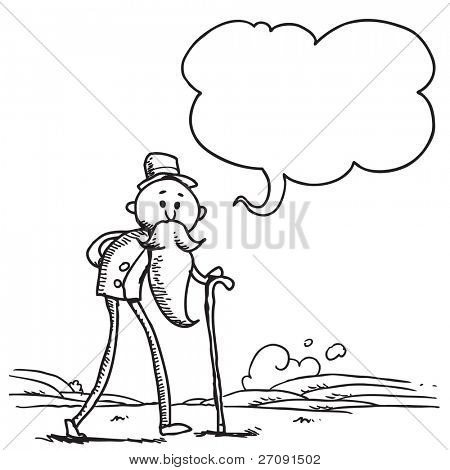 Sketch style illustration of an old man speaking